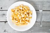 Food, Closeup, Isolated, French Fries, Dish, Quebec, Meal, Plate, Canadian, White, Fat, Gravy, Mozza