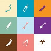 Industrial tools set. Flat color vector icons.