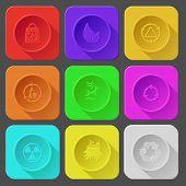 bag, leaf, recycling bin, deer, radiation symbol, stub, recycle symbol. Color set vector icons.