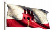 Gibraltar National Flag Isolated 3D White Background