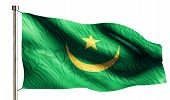 Mauritania National Flag Isolated 3D White Background