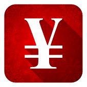 yen flat icon, christmas button