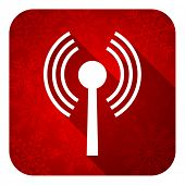wifi flat icon, christmas button, wireless network sign