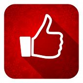 thumbs up flat icon, christmas button, thumb up sign