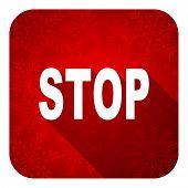 stop flat icon, christmas button