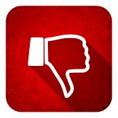 dislike flat icon, christmas button, thumb down sign
