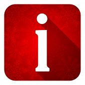 information flat icon, christmas button