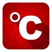 celsius flat icon, christmas button, temperature unit sign