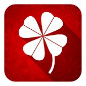 four-leaf clover flat icon, christmas button