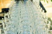 Row Of Glass Kitchen Dinnerware