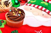Christmas Chocolate Muffin, Santa Claus Oven Glove And Christmas Balls