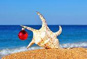 Christmas Seashell And Christmas Bauble On The Beach