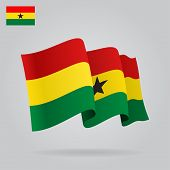 Background with waving Ghana Flag. Vector
