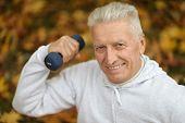 Elderly man exercising