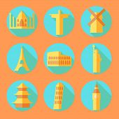Flat Architecture Buildings Icons