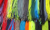 Laces of various colors on a show-window