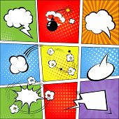 Comic speech bubbles and comic strip background  illustration