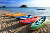 Colorful Boats On The Tropical Beach Of Thailand.