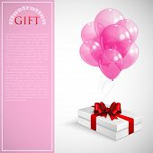 gift box with red bow and bunch of pink transparent balloons