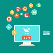 icons of buying product via online shop and e-commerce ideas symbol shopping elements.