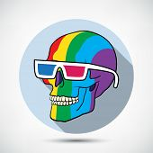 Color Skull in 3D Glasses with flat shadow