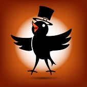 Singing Cute Black Morning Bird Icon. Flat style