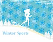 Slim Girl Skiing , Abstract Card