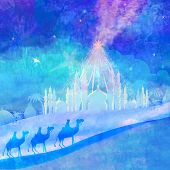 pic of bethlehem  - Classic three wise men scene and shining star of Bethlehem  - JPG