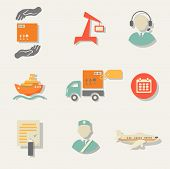 Warehouse transportation and delivery icons flat set isolated  illustration