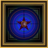 Picture With A Multi-colored Target With A Red Star.