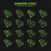Set of line diamond web icons,symbol,sign in isometric style. Diamonds collection. Elements for desi