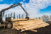 foto of logging truck  - Tree log hydraulic manipulator  - JPG