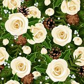 Christmas seamless background with roses, fir branches and holly. Vector illustration.