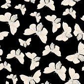 Silk moth black seamless vector pattern
