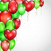 Background With Red And Green Balloons And Serpentines