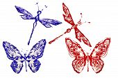 Red And Blue Painted Butterflies And Dragonflies