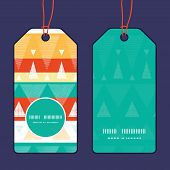 Vector vibrant ikat stripes vertical round frame pattern tags set