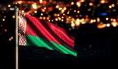 Belarus National Flag City Light Night Bokeh Background 3D