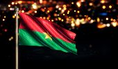 Burkina Faso National Flag City Light Night Bokeh Background 3D