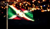 Burundi National Flag City Light Night Bokeh Background 3D