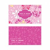 Vector pink abstract triangles horizontal frame pattern business cards set