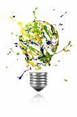Yellow Green Blue Paint Burst Made Light Bulb