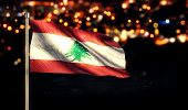 Lebanon National Flag City Light Night Bokeh Background 3D
