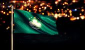 Macau National Flag City Light Night Bokeh Background 3D