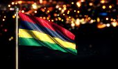 Mauritius National Flag City Light Night Bokeh Background 3D