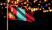 pic of bator  - Mongolia National Flag City Light Night Broken Background 3D - JPG