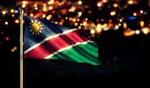 Namibia National Flag City Light Night Bokeh Background 3D