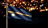Nauru National Flag City Light Night Bokeh Background 3D