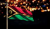 Vanuatu National Flag City Light Night Bokeh Background 3D
