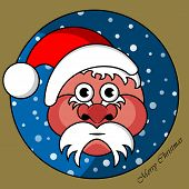 Santa Claus In A Gold Circular Window